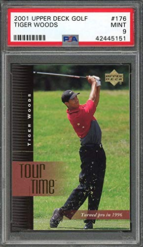 2001 upper deck golf #176 TIGER WOODS rookie card PSA 9 Graded Card