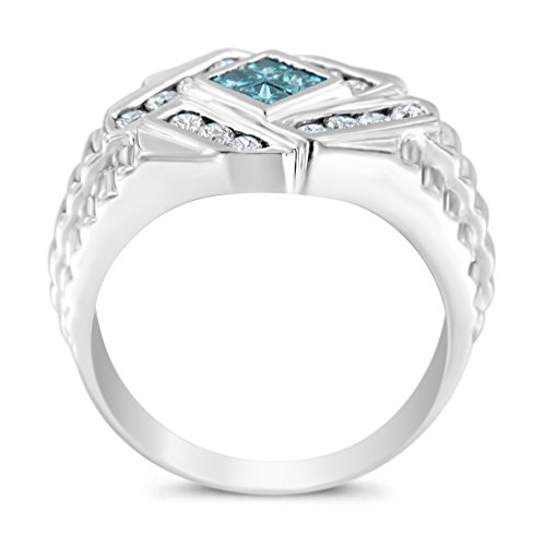 Original Classics 14k White Gold Diamond and Blue Topaz Princess Cut Diamond Gents Ring (1 cttw, Blue Color, I1 Clarity)
