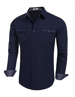 Donkap Men's Long Sleeves Button Down Shirts Inner Contrast Patchwork Plaid Dress Shirts S-XXL