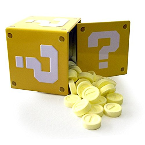Mario Bros Question Mark Box Coin Candies Display, Sour Strawberry, 1.2OZ