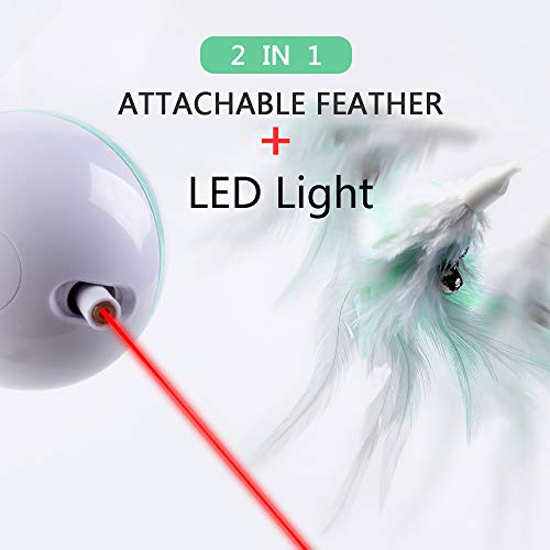 ELEBOOT Interactive Cat Toys, Automatic Rotated Spinning Light with Feather 2 in 1 USB Rechargable Electronic Kitten Toy and Chasing Hunting for Cat Tree,Cat House 5