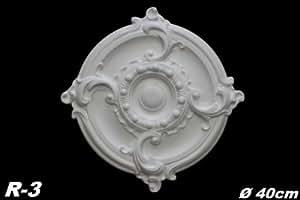 Marbet Design - Roseta para techo (1 unidad, poliestireno, diámetro de 40 cm, R-3), color blanco