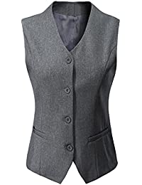 Women's Formal Regular Fitted Business Dress Suits Button Down Vest Waistcoat