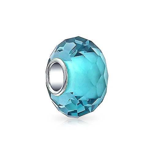 Faceted Translucent Murano Glass Aqua Blue Charm Bead For Women For Teen Fits European Bracelet 925 Sterling Silver (Murano Bracelets Aqua)