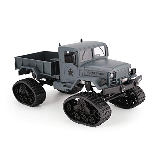 FY001B 2.4Ghz 1/16 4WDキャタピラーオフロードRCミリタリートラッククライマーRC車子供のためのフロントライト付きおもちゃギフト(グレー)