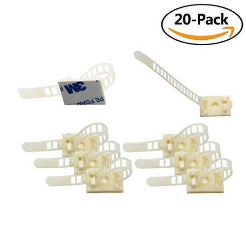 Eiito (White 20-Pack) Wire Clips Cable Clamps Adjustable 3M Self-Adhesive Nylon Cable Multipurpose Cable Clips for wire (4 X 5 Ground Glass)
