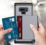 Galaxy Note 9 Case,Lozeguyc Dual-Layer Hybrid Armor Wallet Case for Samsung Galaxy Note 9-Silver