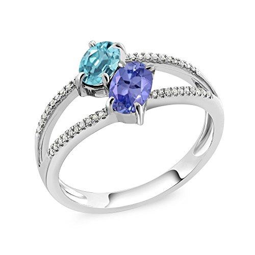 1.48 Ct Blue Zircon Blue Tanzanite Diamond 10K White Gold Ring (Size ()