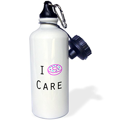 3dRose wb_224571_1 I Donut Care Sports Water Bottle, 21 oz, White