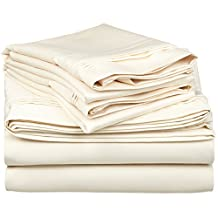 100% Premium Long-Staple Combed Cotton 650 Thread Count, Queen 4-Piece Sheet Set, Deep Pocket, Single Ply, Solid, Ivory