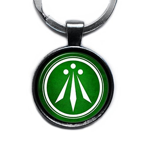 Celtic Symbol - The Awen Three Rays of Light - White on Green Silver Keychain Keyring