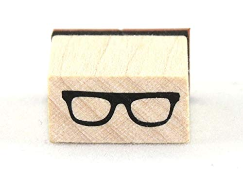 ShopForAllYou Stamping & Embossing Sixties Eyeglasses Wood Mounted Rubber Stamp New Chunky Bold Square