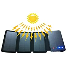 Powerful Solar Charger - Zebora Four Solar Panels 10000mAh Portable Backup Solar Charger Dual USB Power Bank For iPhone, iPods, iPads, Samsung Galaxy, Note, Nexus, HTC One M8, Gopro Camera,GPS and More Other USB-charged Devices (4 Solar Panels)