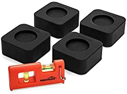 Washer Dryer Shock Absorbing Pads: Non Slip & Noise Reducing Rubber Anti Vibration Pad For Washing Machine Feet & Dryer Machine Feet - Pack Of 4 Universal Anti-walk Pads With Mini Level Included