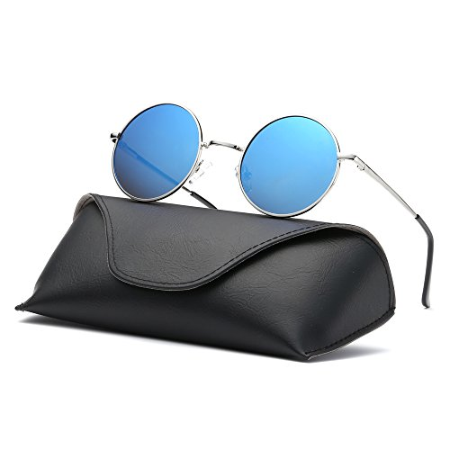 Ray Parker Fashion Classic Vintage UV Protection Round Mirrored Polarized Lens Sunglasses for Men RP8024 With Silver Frame/Blue Mirrored Lens