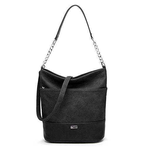 Large Silver Hardware - Ladies Handbags for Women Top-Handle Hobo Handbag Purse PU Leather Satchel Shoulder Bag (Black)