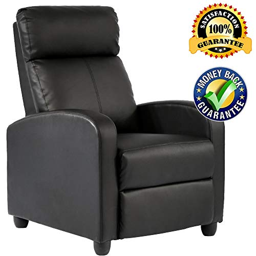 Recliner Chair Modern PU Leather Chaise Couch Single Recliner Chair Single Sofa Furniture Reclining Seat Home Theater Seating for Living Room ()