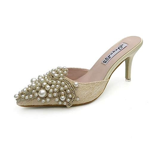 iYBUIA Sandals for Women's - ✿ Summer Pearl Stiletto Casual Pointed Fine Heel High Heels Shoes Beige