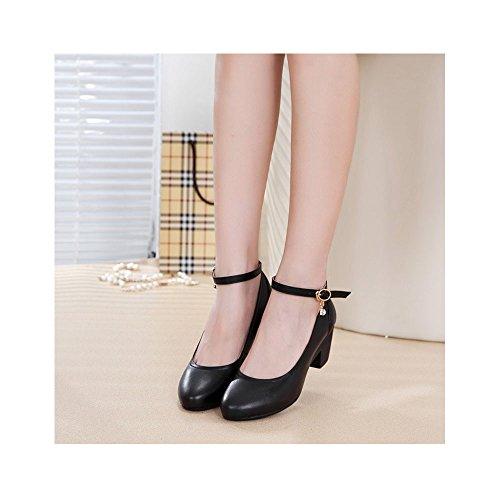 OCHENTA Dermis mujeres con la boca baja - Ronda de hebillas de correa zapatos de trabajo Negro