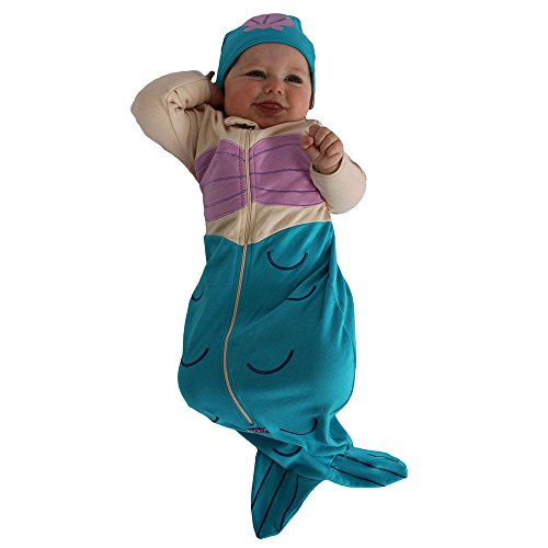 Sozo Baby-Girls Newborn Mermaid Bunting and Cap Set, Blue/Tan/Pink, 0-6 Months]()