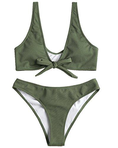 (ZAFUL Women Bowtie Ribbed Bikini Set Texture Tied Scrunch Butt Swimsuit Padded Bathing Suit,Army Green S)