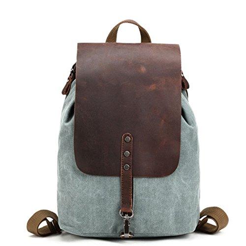 Mochila Bolso de lona Vintage Estudiante masculino Moda Viaje Casual Espesar Daypacks reforzados Senderismo Acampar Trekking, Verde del ejército lago verde