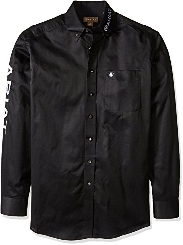 Ariat Men's Big and Tall Logo Long Sleeve Twill Shirt, Black White, X-Large- Tall