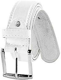 Men's Belt Leather Dress Belt Casual or Formal - Silver Polished