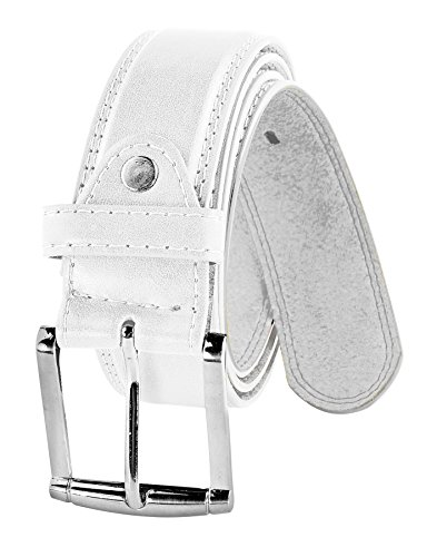 Men's Genuine Leather Belt in Versatile Casual or Formal Style -White / Large