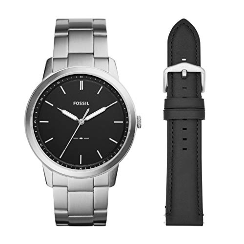 Fossil Men's The The Minimalist 3H Analog-Quartz Watch with Stainless-Steel Strap, Silver, 22 (Model: FS5451SET