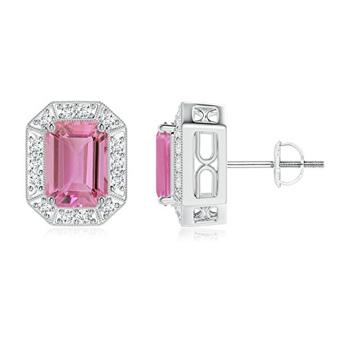 Earring Cut Tourmaline Emerald Pink (Emerald-Cut Pink Tourmaline and Diamond Halo Stud Earrings in Platinum (7x5mm Pink Tourmaline))