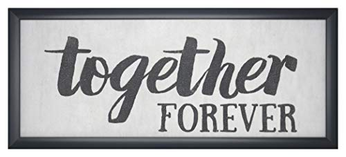 Homekor Love Sentiments Inspirational Wall Sign – Framed Wall Art Plaque with Love Quote 21 x 9 (Together Forever)