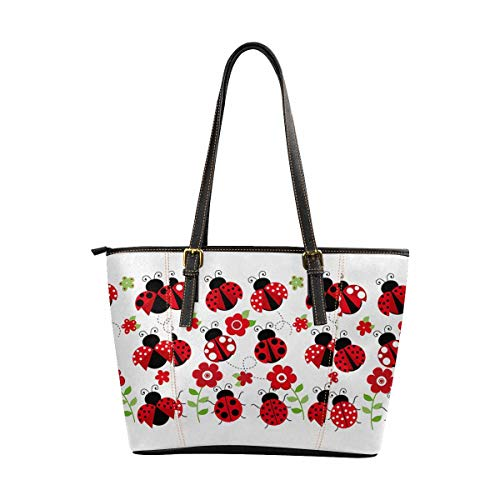 5083e99204a1 InterestPrint Tote Bags Women's PU Leather Handbags Ladies Shoulder Bag  Cute Ladybugs and Red Flowers