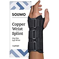 Amazon Brand - Solimo Copper Wrist Splint, Left Hand, One Size