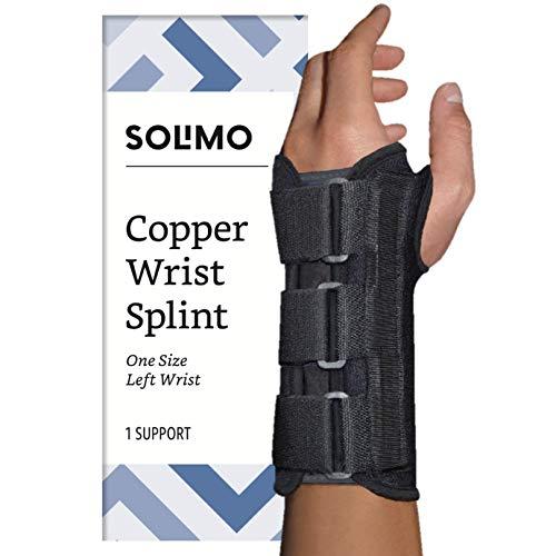 (Amazon Brand - Solimo Copper Wrist Splint, Left Hand, One Size)