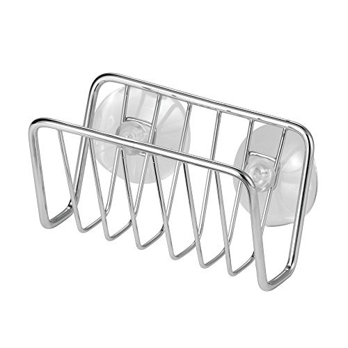 InterDesign Rondo Kitchen Sink Suction Holder for Sponges, Scrubbers, Soap - Chrome
