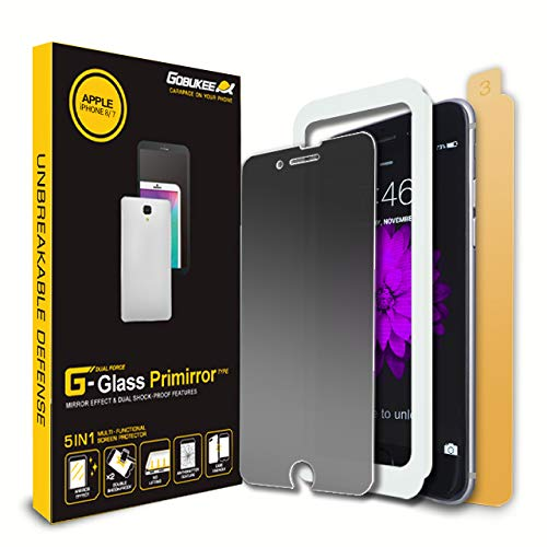 GOBUKEE iPhone 8/7 [PRIMIRROR] Tempered Glass Screen Protector [3in1] Privacy+Mirror+Anti-shock/Case Friendly/Back Protector/Easy installation with Applicator/Aluminosilicate glass Over 9H