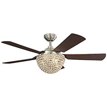 Parklake 52-in Brushed Nickel Downrod Mount Indoor Ceiling Fan ...