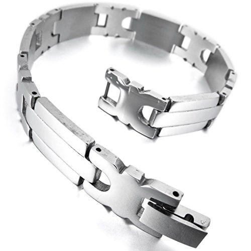 INBLUE Men's Stainless Steel Bracelet Link Wrist Silver Tone