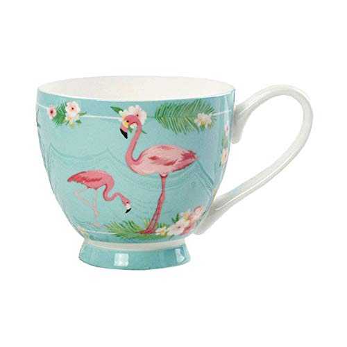 Ceramic Mug Cup with Pink Flamingo,Colorful Flowers,Bone China Large Afternoon Tea Cup Mugs,Small Gift for Home Use,Office Green 500ml
