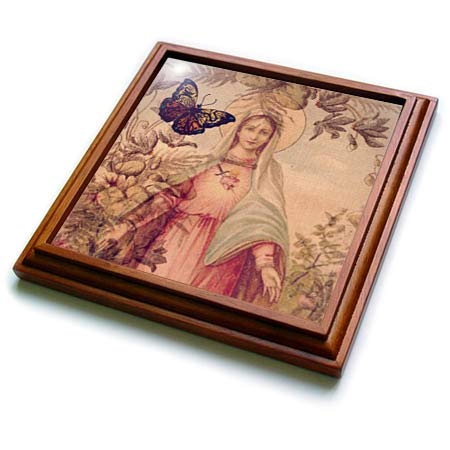 (3dRose Cassie Peters Digital Art - Mary and Butterfly Digital Art - 8x8 Trivet with 6x6 ceramic tile (trv_298922_1))
