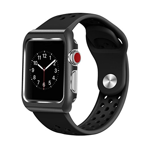 Kutop Bands Compatible for Apple iWatch,Apple iWatch Double-Sided Silicone Replacement Strap Case Apple Watch Band Full Coverage Scratch-Resistant Sports Protection Wristband