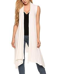 Women's Sleeveless Asymmetric Open Front Drape Long Cardigan Sweater Vest