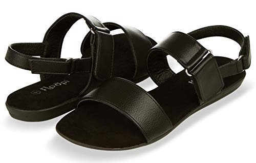 Floopi Sandals for Women | Cute, Open Toe, Summer Sandals| Comfy, Adjustable Velcro, Faux Leather Ankle Straps W/Flat Sole, Memory Foam Insole (9, Black-510)