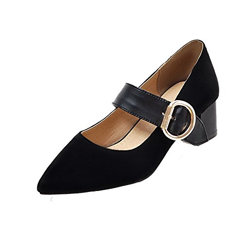 Odomolor Women's Buckle Pointed-Toe Kitten-Heels PU Assorted Color Pumps-Shoes, Black, 36