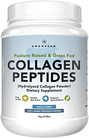 Amandean Collagen Peptides Powder XL 2.2lbs | Grass-Fed Hydrolyzed Collagen Protein | Paleo & Keto Friendly | Clean Bovine Hydrolysate | Unflavored, Non-GMO | 18 Amino Acids (Packaging May Vary)