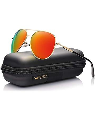 f0b26e345b95 LUENX Womens Mens Aviator Sunglasses Polarized with Case - UV 400  Protection Orange Lens Gold Frame