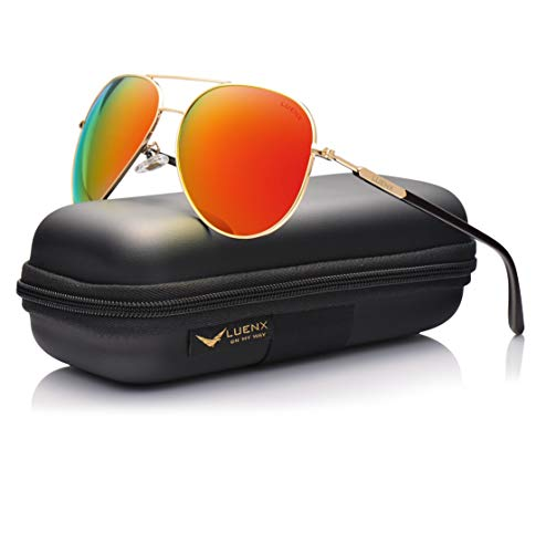 (LUENX Womens Mens Aviator Sunglasses Polarized with Case - UV 400 Protection Orange Lens Gold Frame 60mm)