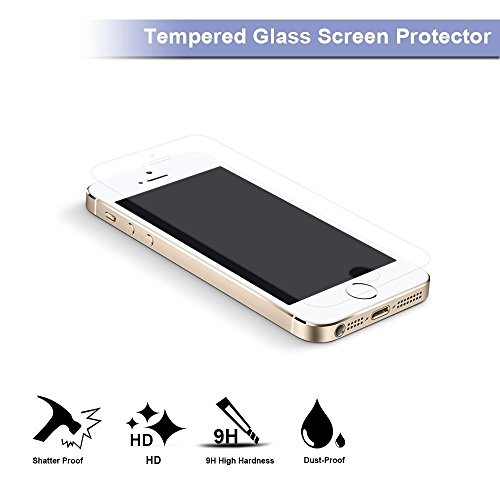 2 Pack iPhone 5 tv screen Protector Premium Tempered wine glass tv screen Protector Anti Scratch 9H Hardness 25D Tempered wine glass bubble Free tv screen Protectors for iPhone SE 5S 5C 5 Sports Handheld GPS