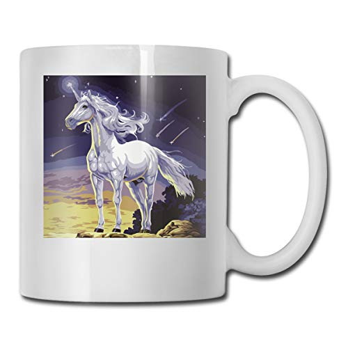 XHX Pegasus 11 OZ White Ceramic Coffee Mug C-Handle